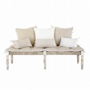 banquette ethnique 2 places en tissu beige casablanca With tapis ethnique avec poids d un canapé 3 places