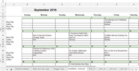 2018 Editorial Calendar In Sheets Money