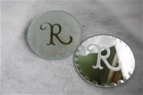 etched monogram mirror coasters