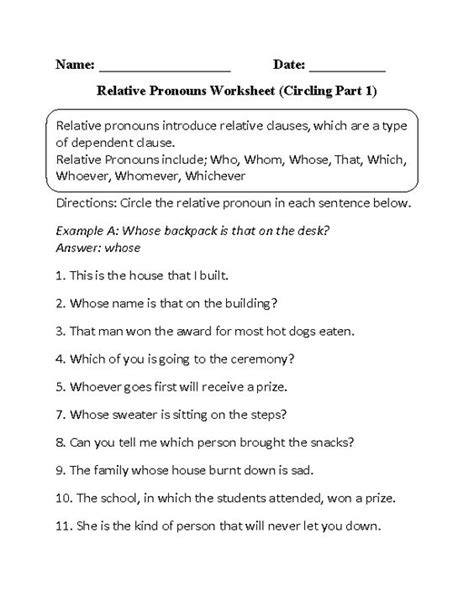 Circling Relative Pronouns Worksheet Part 1 Beginner  Worksheets  Pinterest Pronoun