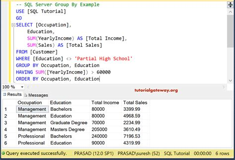 sql clause placed under