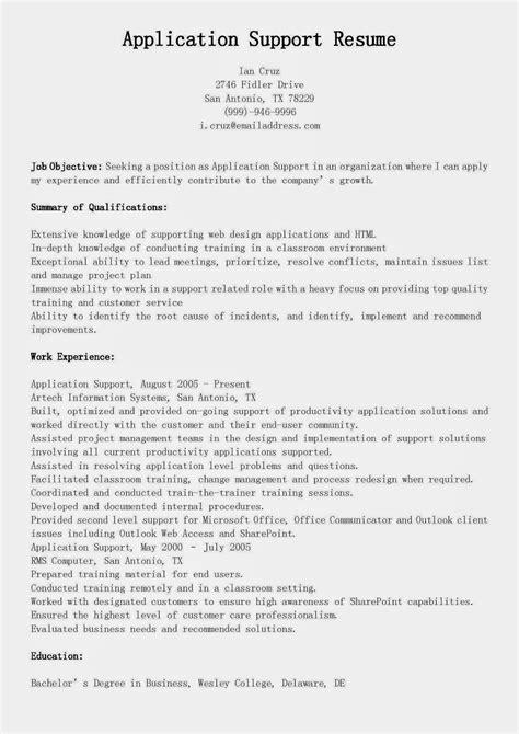 resume samples application support resume sample