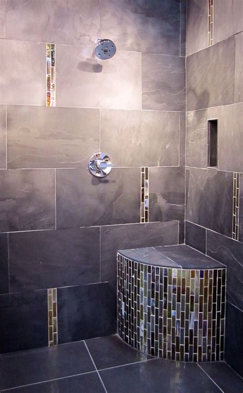modernized shower  metallic glass accents thetileshop bathroom pinterest glass