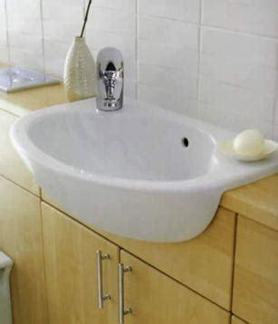 fitting semi recessed sink  slimline vanity unit