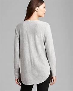 Michael Michael Kors Cashmere High Low Hem Sweater In Gray