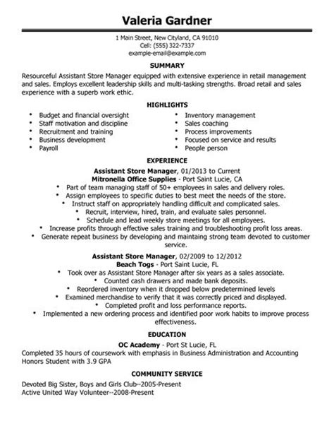 Sle Retail Assistant Store Manager Resume by Assistant Store Manager Resume Exle Retail Sle Resumes Livecareer