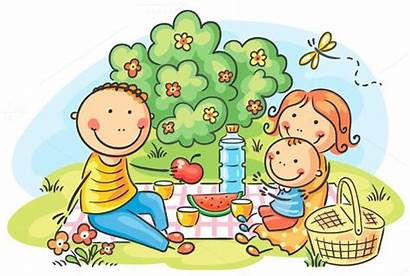 Picnic Drawing Cartoon Outdoor Having Clipart Composition