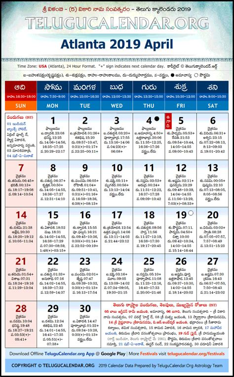 atlanta telugu calendars april festivals