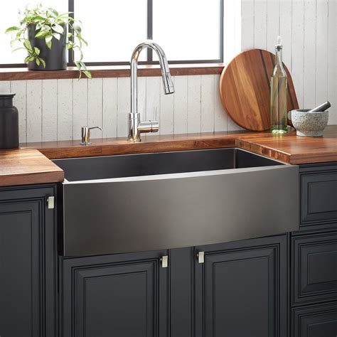 Black Stainless Steel Farmhouse Sink 36 quot atlas stainless steel farmhouse sink curved apron