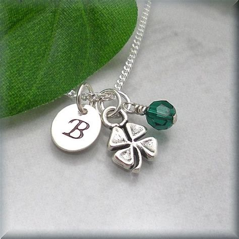 Four Leaf Clover Initial Birthstone Necklace Sterling