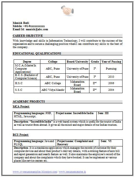 Excellent Cv Templates by 100 Resume Format For Freshers Sle Template Exle