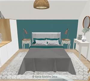 Deco Chambre Ami : projet client une chambre d 39 amis en bleu bois et blanc sonia saelens d co ~ Melissatoandfro.com Idées de Décoration
