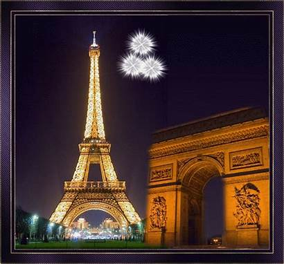 Eiffel Arc Triomphe Tour Paris Juillet Gifs
