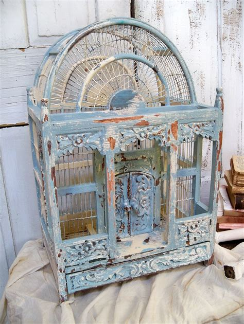 Shabby Chic Holz by Large Ornate Carved Wood Birdcage Painted Blue