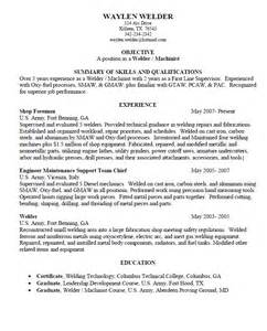 Machinist Resume Summary by Summary Of Skills Welder Machinist Resume Sle Resumes Design