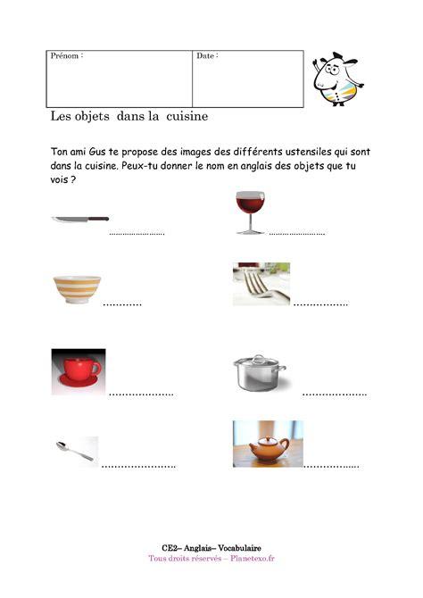 donner des cours de cuisine exercice corrigé pour le ce2 les objets dans la cuisine