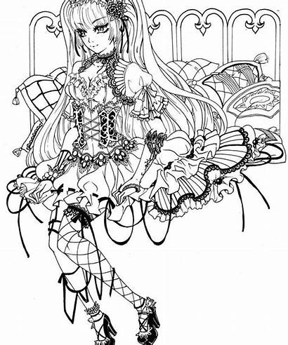 Gothic Coloring Adult Pages Printable Fairy Goth