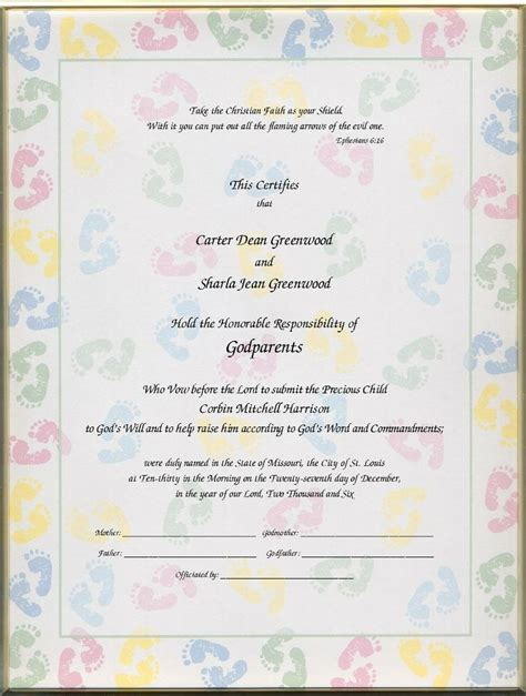 christening certificates  godparents certificates