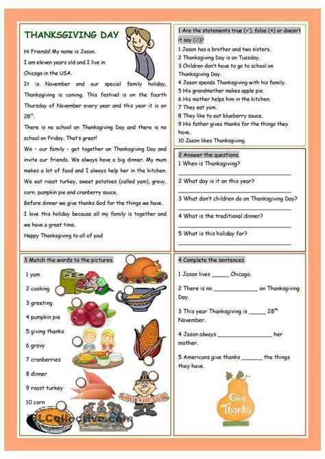 Thanksgiving Day  English  Worksheets,thanksgiving Ja Thanksgiving Worksheets