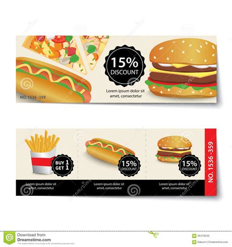 promo cuisine fast food coupon discount template design stock vector