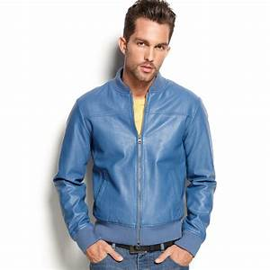 Armani jeans Eco Fauxleather Jacket in Blue for Men | Lyst