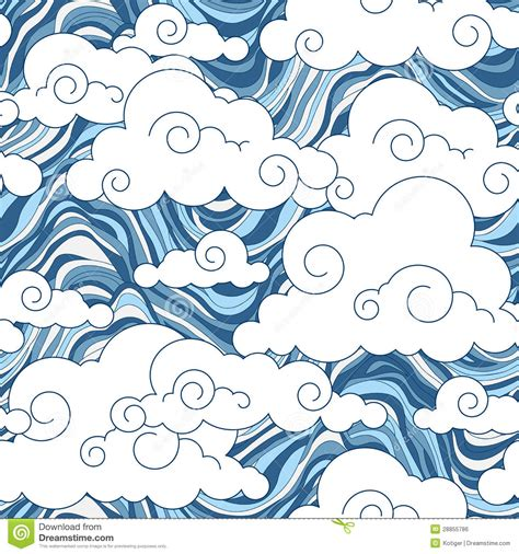 vintage cloud chinese seamless pattern stock vector