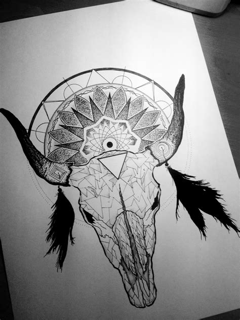 #bull #skull #dotwork #linework #blackwork #ink #geometry #sketch #mandala #blackandwhite | Bull