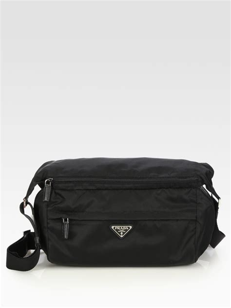 prada small nylon shoulder bag black men lyst