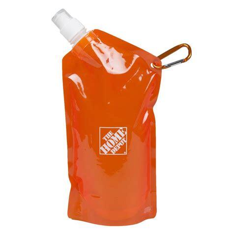 home depot orange the home depot 20 oz collapsible water bag in orange 1424341 00 the home depot