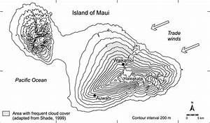 Map Of The Island Of Maui  Hawaii  Usa  Showing East Maui