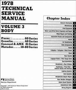 1978 Amc Repair Shop Manual Original 3 Vol  Set Pacer