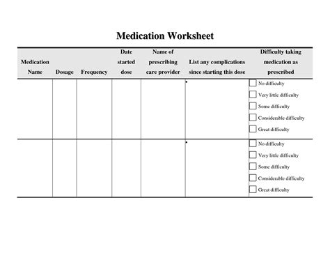 12 Best Images Of Medication Compliance Worksheet  Personal Medication Record Template, Patient