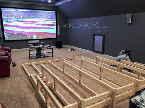 media home theater riser diy   add running lights