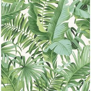 A-Street Alfresco Green Palm Leaf Wallpaper Sample-2744