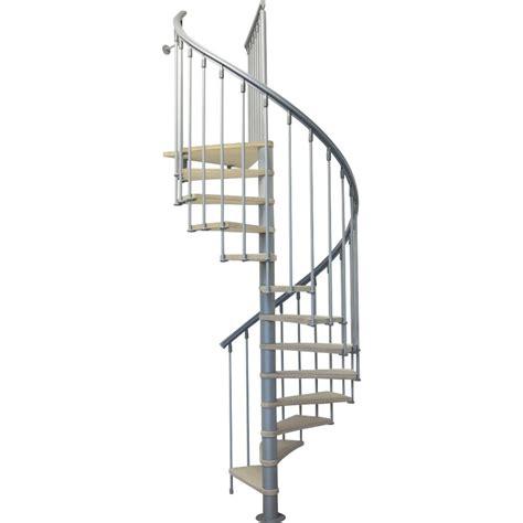 cuisine style marin escalier colimaçon rond structure métal marche bois