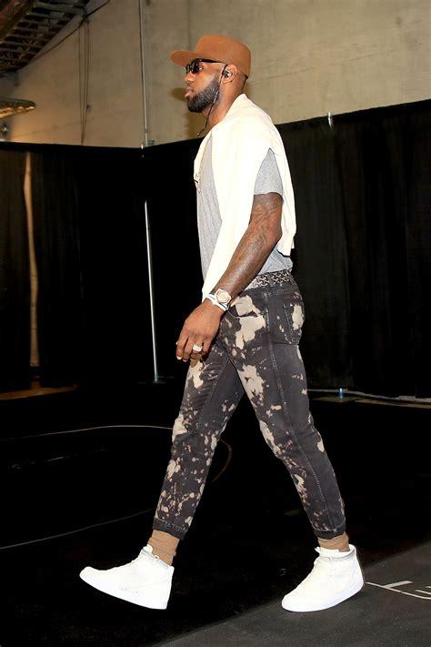 lebron james wears dries van noten shirt gucci jeans