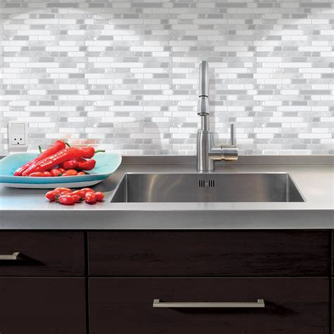 stick on backsplash tiles for kitchen smart tiles bellagio blanco 10 06 in w x 10 in h peel and stick decorative mosaic wall tile