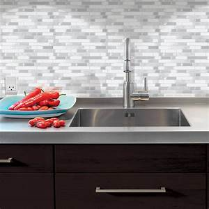 Smart tiles bellagio blanco 1006 in w x 10 in h peel for Stick on backsplash white