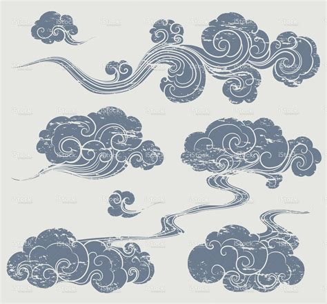 set  grunge cloud graphics  oriental style