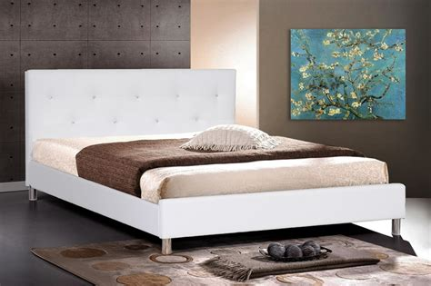 Barbara White Modern Bed With Crystal Button Tufting