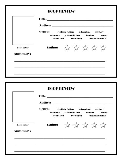 review template 7 best images of book review printable template book review template free printable book