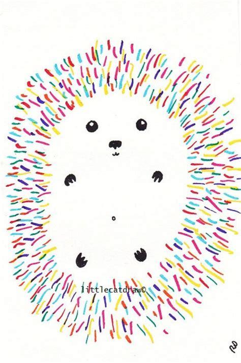 fun  rainbow hedgehog art print drawing op art