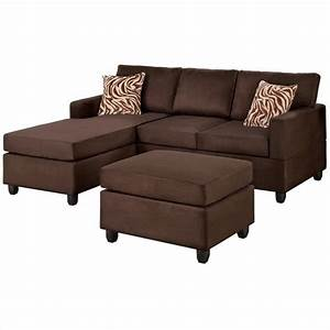 Poundex bobkona manhattan reversible microfiber 3 piece for 3 piece brown sectional sofa