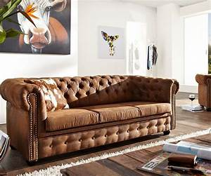 3 Sitzer Chesterfield Braun 200x92 Cm Antik Optik Sofa