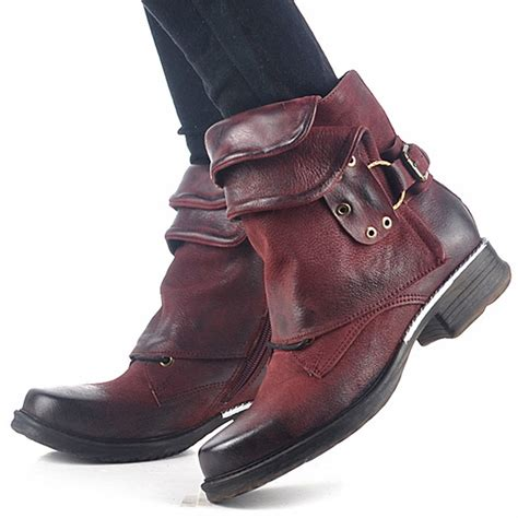buckle motorcycle boots wine red genuine leather women ankle boots punk style