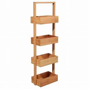 Etagere De Bain : tag re salle de bain 4 niveaux bambou marron ~ Teatrodelosmanantiales.com Idées de Décoration