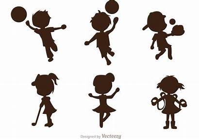 Vector Sporty Pack Silhouette Child Clipart Vectors