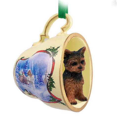 yorkie dog christmas holiday teacup sleigh ornament