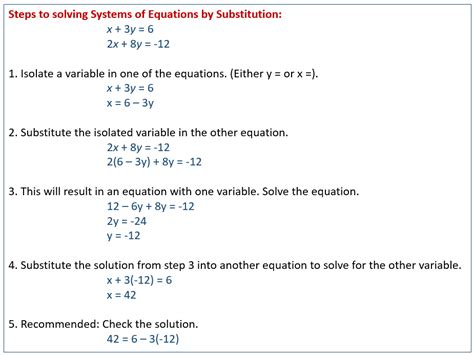 solving systems of equations by substitution exles