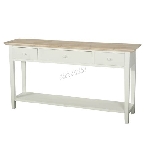 storage table for kitchen foxhunter console table 3 drawers wood hallway side 5890